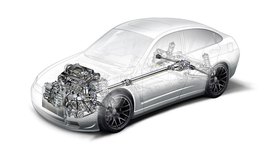 Система трансмиссии автомобиля.
